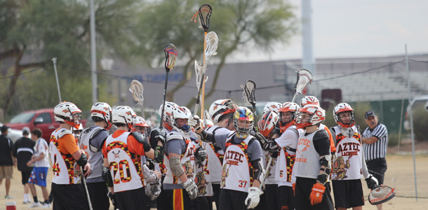 The Aztec lacrosse team huddles after its game against Glendale. The Aztecs won, 10-5.