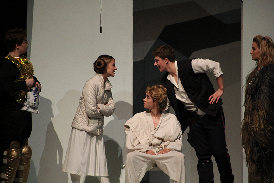 Hans Solo  (Teddy Ladley) and Princess Leia (Alli Hayes) argue in a scene from the play. The abridged version left the audience laughing hysterically at eh comedic approach.