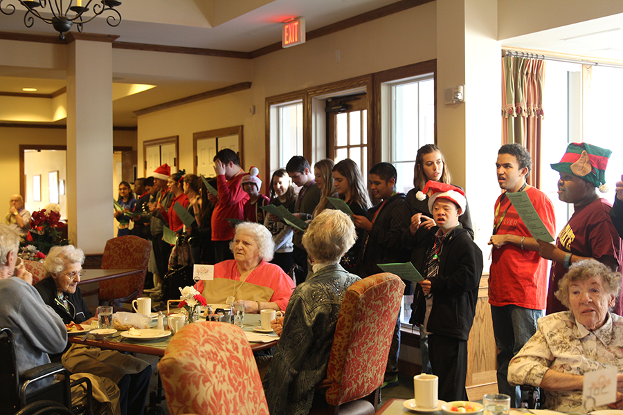 Sol Buddies and National Honor Society officers went caroling at the Sunrise nursing home. They spread holiday cheer to elders in the community.